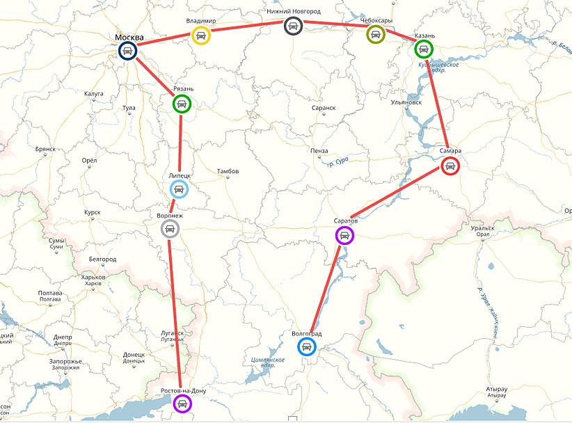 Маршрут автопробега охватывает двенадцать крупных городов России