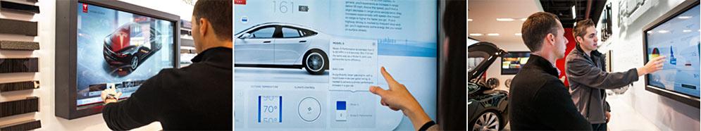 Сенсорные панели и киоски привлекают покупателей визуальными образами и ответами на частые вопросы об электромобилях