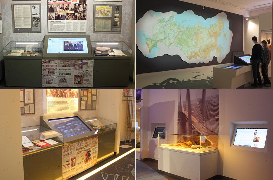 Интеграция информационных киосков разных размеров музейные стенды