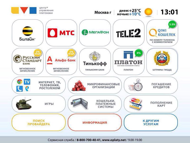 Розничный интерфейс платежных терминалов