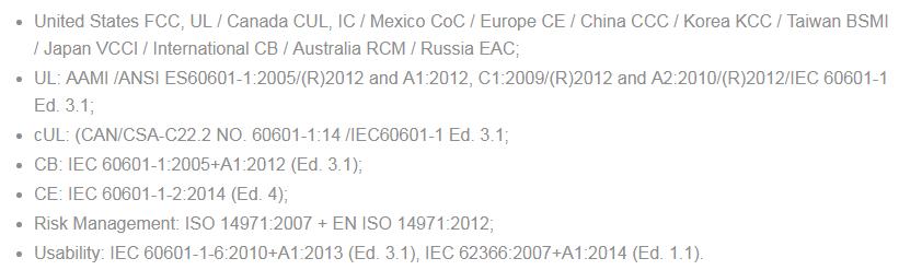 сертификаты сенсорных медицинских мониторов