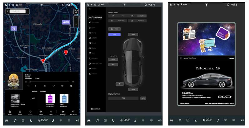 Образцы интерфейса ОС FastSYS для бортового компьютера Tesla